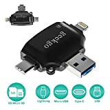 geekgo SD/Micro SD Card Reader for iPhone iPad/Android Phone/Apple MacBook/Computer, Memory Card Adapter with Lightning, Micro USB, USB C, USB 4 Interfaces, Picture and Video Viewer for Camera