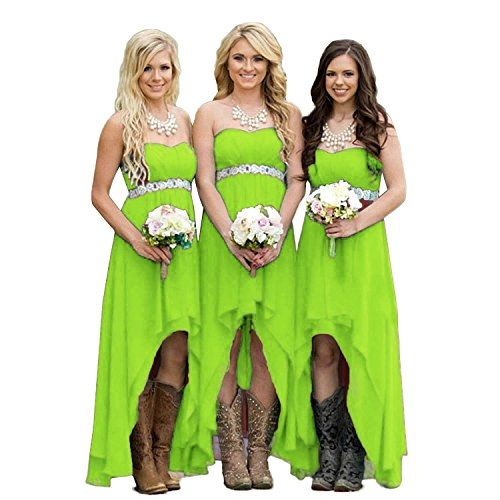 Lemai High Low Beaded Chiffon Sweetheart Corset Empire Prom Bridesmaid Dresses Lime Green US 10 - Empire Sweetheart Sleeveless