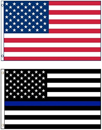 Mission Flags 3x5 ft. US American and Thin Blue Line Polyest