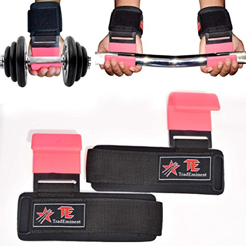 Lifting Wrist Support Weight Gym Straps Bar Wraps Grips Training Hook Pink New by Trademinent