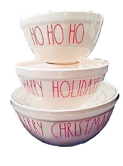 Rae Dunn Christmas Bowls.Amazon Com Rae Dunn Melamine Christmas Bowl Set Coffee