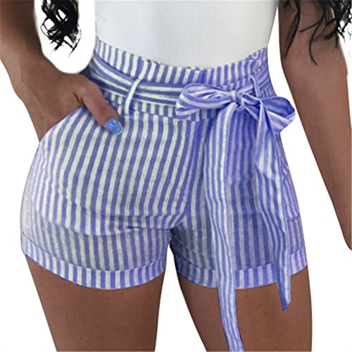 - GOBLES Women's Sexy Hot Pants High Waisted Striped Casual Summer Bow Shorts Dark Blue