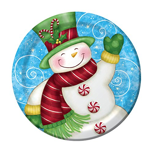Creative Converting 8 Count Sturdy Style Paper Dinner Plates 8.75  Wintertime Greetings  sc 1 st  Amazon.com & Snowman Paper Plates: Amazon.com