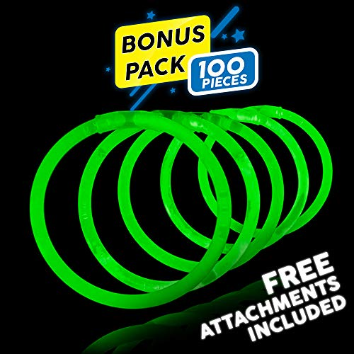 Lumistick 8 Inch 100 Pack Glow Sticks - Bendable Glow Sticks with Necklace and Bracelet Connectors - Glowstick Bundle Party Bracelets Best for Parties, Events and Holidays (Green, 100)