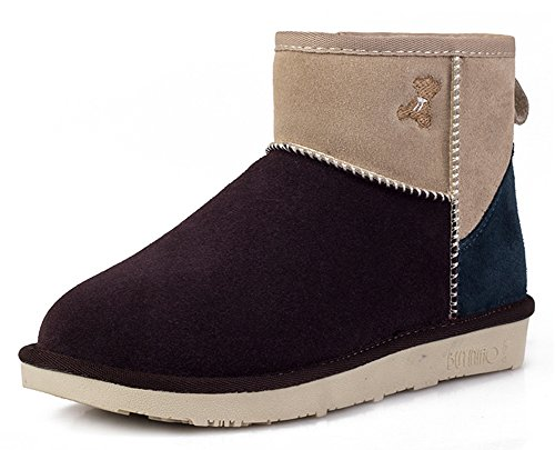Boots Winter Women's Suede Warm Coffee Fur Lined Flat IDIFU Snow wZqCP8W