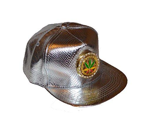 con efecto hoja y metálico marihuana con cierre de Gorra de trasero diseño d75qgWc