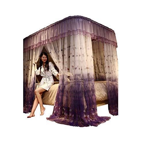 Mosquito net Guide u-Type Floor Stand Mosquito net Three-Door Mosquito net Anti-Mosquito Insect nets encrypted Mosquito net Palace Mosquito net, Purple, 210 180cm by RFVBNM Mosquito net (Image #7)