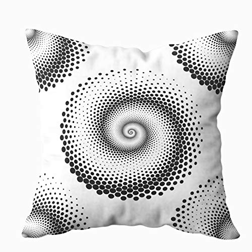 Anucky Pillow Covers,Throw Pillow Cases, Design Spiral Dots Pattern Abstract Monochrome for Your Home Printed with Fashion Pattern Soft Case for Bedroom 18x18 Inch Decorative Pillow Covers Arc Ellipse 2 Light