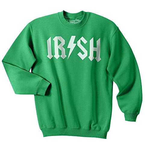 Crazy Dog T-Shirts Irish Rockstar Funny Music ST. Patrick's Day Unisex Crew Neck Sweatshirt (Green) S
