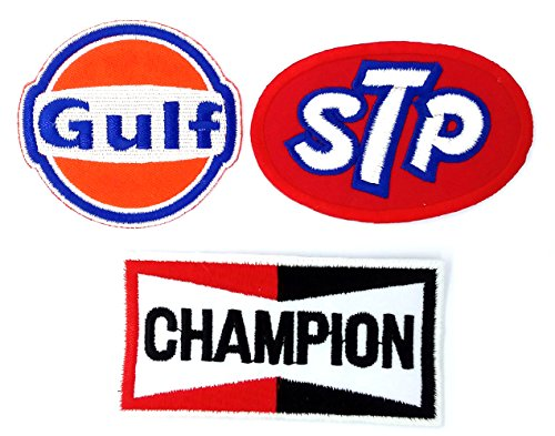 Set_MOTOR005 - Gulf Oil Race Team Patch, Auto Racing Patches Set - Motor Patches - Applique Embroidered patches - Iron on Patches - Backpack Patches - STP Oil Patches, Champion Patch, Gulf Patch ()