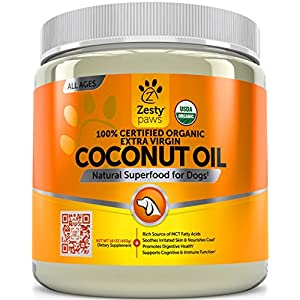 Zesty Paws Coconut Oil for Dogs – Certified Organic & Extra Virgin Superfood Supplement – Anti Itch & Hot Spot Treatment – for Dry Skin on Elbows & Nose – Natural Digestive & Immune Support – 16 OZ