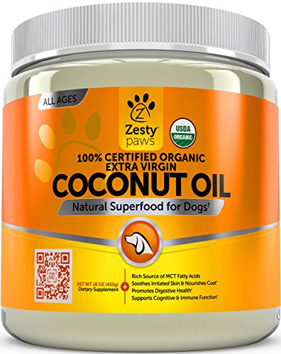 Zesty Paws Coconut Oil for Dogs - Certified Organic & Extra Virgin Superfood Supplement - Anti Itch & Hot Spot Treatment - for Dry Skin on Elbows & Nose - Natural Digestive & Immune Support - 16 OZ