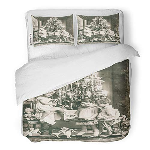 Tarolo Bedding Duvet Cover Set Victorian Happy Kids Christmas Tree and Vintage Toys Antique Sepia Original Film Grain 1900 3 Piece Queen 90