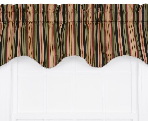 Ellis Curtain Mateo Medium Scale Stripe Print Lined Duchess Filler Valance, 50 by 15-Inch, Black