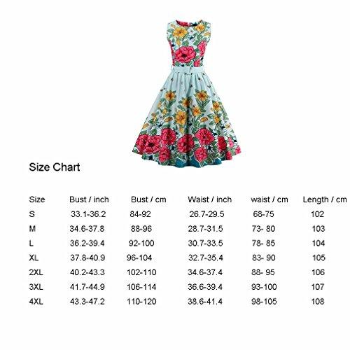 estilo Imprimir Vintage de lindo elegante DRESS de verde Luz con Vestido abeja VINTAGE Dress Floral fajas para Seeveless fiesta mujer vestido la wqAIvtfpI