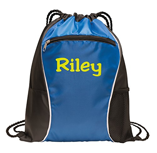 All about me company Fast Break Cinch Pack | Personalized Monogram/Name Sackpack Bag (Hyper Blue)]()