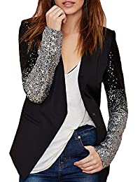 Summerwhisper Women's Sequins Leather Blazer Jacket Black