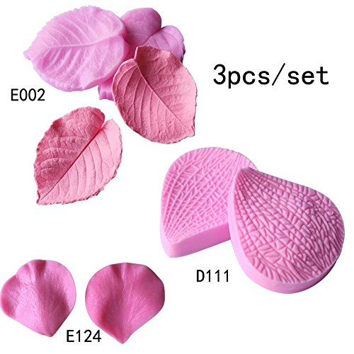 3 piece/set Leaves shape Silicone Fondant Cake Molds Soap Chocolate Mould For The Kitchen Baking Clay Mould -
