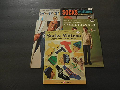 3 Coats Clark's Books: #163,192,196 Socks,Mittens,Knit Children 2-12