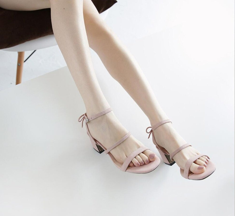 XIE Damens es Mid Heel Fuß Rund Kopf Sommermode Bequem Ein Wort Fuß Heel Riemen Asakuchi Sandale b4fd54