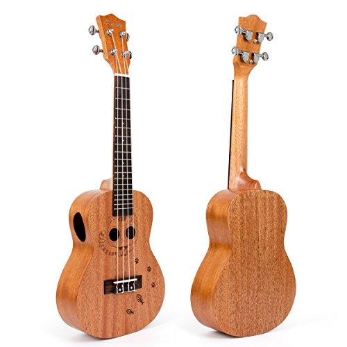 Kmise Mahogany Concert Ukulele 23 inch Hawaii Guitar Bridge Carved Cat