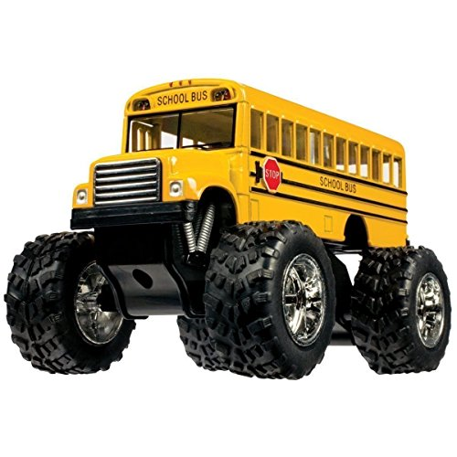 Monster School Bus  Die Cast Yellow School Bus Large 5  Long With Monster Wheels