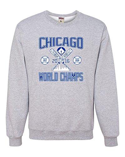 - X-Large Athletic Heather Adult Chicago World Champs 2016 Sweatshirt Crewneck