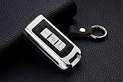 [MissBlue] Aircraft Aluminum Key Fob Cover For Mitsubishi Motors Remote Key, Protector Case Fits Mitsubishi Fortis Lancer EX Outlander ASX Car Key, Unisex Leather Key Fob Keychain Key Fob Holder