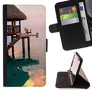 BUNGALOW SEA OCEAN BEACH HOUSE/ Personalizada del estilo del dise???¡Ào de la PU Caso de encargo del cuero del tir????n del soporte d - Cao - For HTC One M8