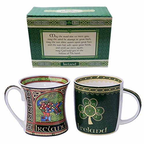 Irish China (2 Pack Irish Bone China Mugs With Celtic, Trinity Knot and Shamrock Designs)