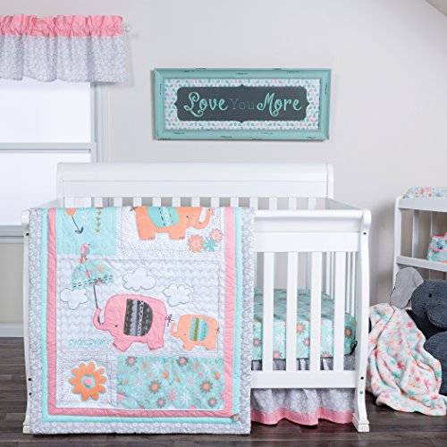 (Trend Lab Playful Elephants 3 Piece Crib Bedding/Nursery Set)