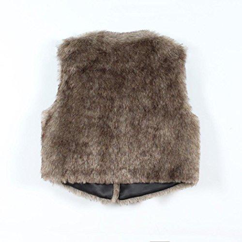 invierno las Outwear abrigo de pelo de chaqueta de vestir Piel de cálido de piel sin de Chaleco largo bordado imitación Prendas mangas Chaqueta Koly de sintética mujeres chaleco Marrón de FnIRYqwfw