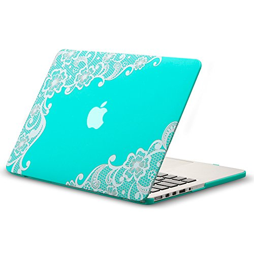 Kuzy Lace TEAL HOT BLUE Case for Older MacBook Pro 13.3 with Retina Display A1502/A1425 Shell Rubberized Hard Cover - Lace TEAL