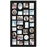"Adeco [PF9105] Decorative Black Wood Wall Hanging Collage Picture Photo Frame, 29 Openings, Various Sizes between 3.25x2.75"" and 4.5x4""; Square, circular, oval and rectangular openings"