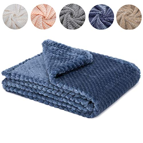 - Fuzzy Blanket or Fluffy Blanket for Baby Girl or boy, Soft Warm Cozy Coral Fleece Toddler, Infant or Newborn Receiving Blanket for Crib, Stroller, Travel, Outdoor, Decorative (Smoked Blue, 4059)