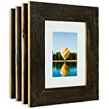 Craig Frames 8 x 10-Inch Reclaimed Barnwood Picture Frame with Single White Mat for Displaying a 5 x 7-Inch Photo, Weathered Dark Natural, Set of 4