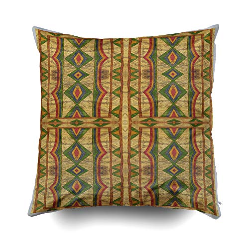 Musesh American Indian Style parfleche Cushions Case Throw Pillow Cover Sofa Home Decorative Pillowslip Gift Ideas Household Pillowcase Zippered Pillow Covers 18X18Inch