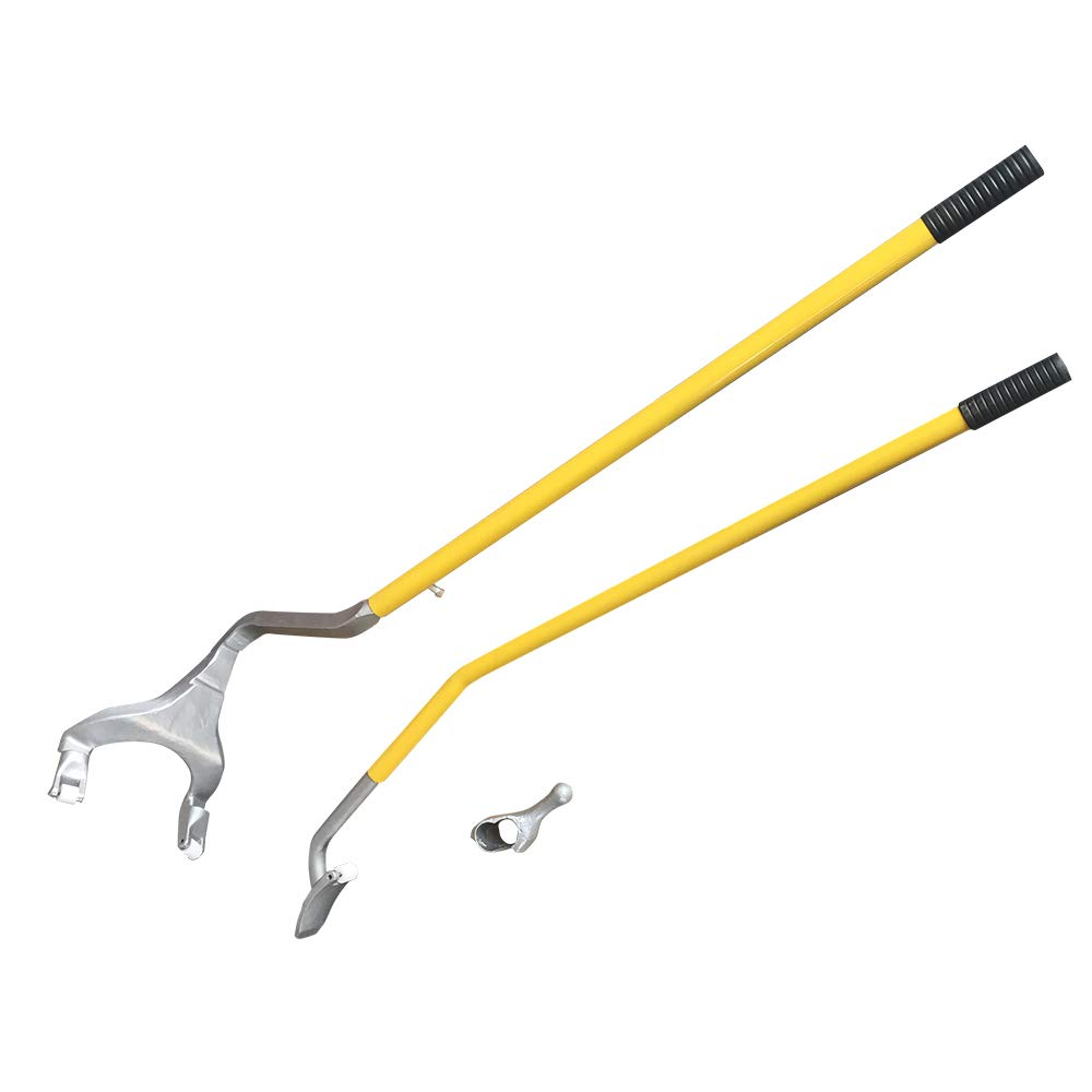 TRIL GEAR Tire Changer, 17.5'' to 24'' Steel Tire Mount Demount Tool Kit, Tubeless Truck Bead Breaker Manual Tire Changing Tool (Yellow) by TRIL GEAR