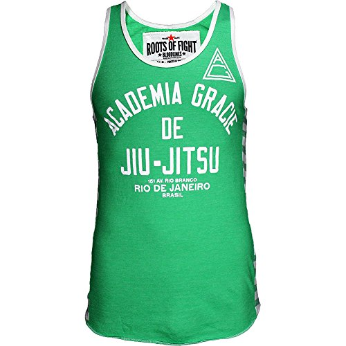 Roots of Fight Academia Gracie JJ Triblend Striped Tank Green Medium