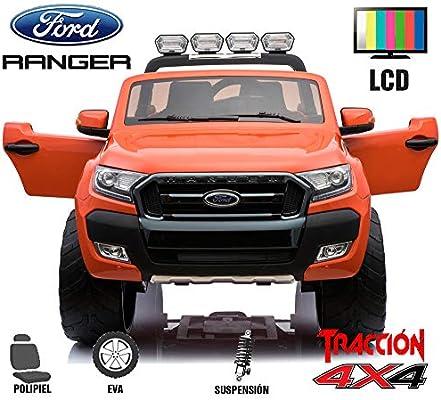 BC Babycoches-Coche electrico 12 V para niños Ford Ranger WILDTRACK 4X4, biplaza, Todoterreno, Motores 45w, Pantalla LCD, Ruedas EVA, Asiento Polipiel ...