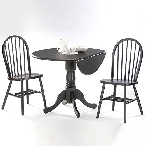 International Concepts 3-Piece 42-Inch Dual Drop Leaf Pedestal Table with 2 Windsor Chairs, Black Finish - International Concepts Black Dining Table