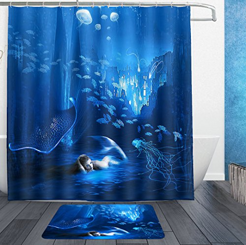 SWEET TANG Shower Curtains With Hooks and bath rug mat - under sea mermaid Jellyfish fish blue Bath Curtain Liner - Waterproof Polyester Fabric Bathroom Decor Set - 72x72/18x36