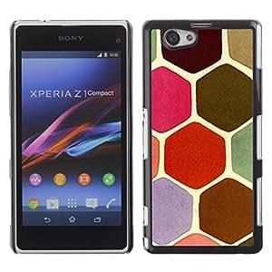 Be Good Phone Accessory // Dura Cáscara cubierta Protectora Caso Carcasa Funda de Protección para Sony Xperia Z1 Compact D5503 // Scales Pastel Turtle Hexagon Pink Green