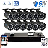 GW 16 Channel H.265 NVR 5-Megapixel Security Camera System, 12pcs 5MP 1920p 3.6mm Wide Angle POE Weatherproof Bullet IP Cameras, 100ft Night Vision