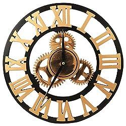 VIKMARI 14 inch 3D Vintage Industrial Gear Wall Clock Golden Roman Numerals Wooden Wall Clock Large Round Non-Ticking Silent Quartz Wall Clocks Decoration Wall Art Clock (No Cover)