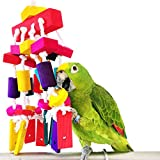 Bwogue Parrot Chewing Toys Natural Wooden Colorful Bite Hanging Toy Cockatoos, Cockatiels and Macaws Bird 13.8 x 4.7inch