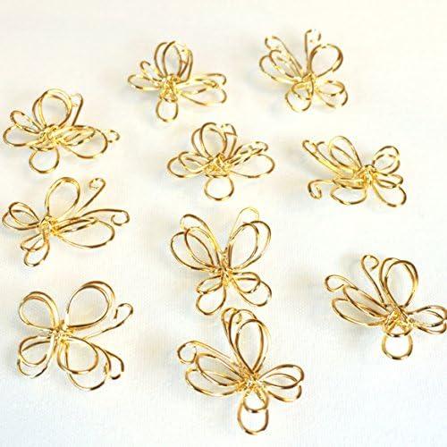 ちょうちょの立体ワイヤーチャーム 5個 ゴールド アクセサリーパーツ ハンドメイド 手芸材料