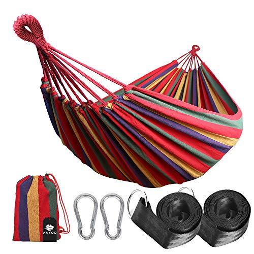 Garden Hammock - Anyoo Single Cotton Outdoor Hammock Multiples Load Capacity Up to 450 Lbs Portable with Carrying Bag for Patio Yard Garden