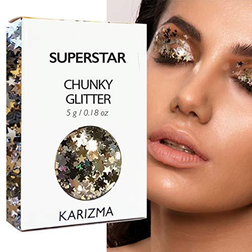 (Superstar Chunky Glitter ✮ COSMETIC GLITTER KARIZMA ✮ Festival Beauty Makeup Face Body Hair)