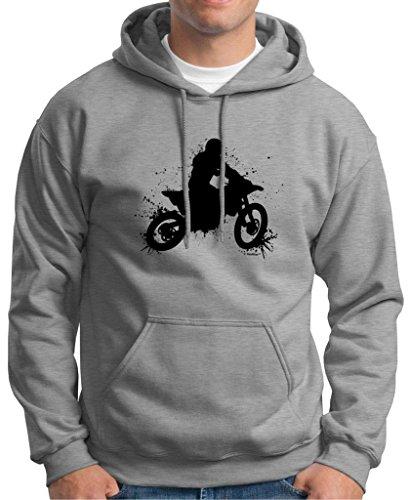 40 Premium Helmet (Motocross Mud Splatter Premium Hoodie Sweatshirt Large Light Steel)